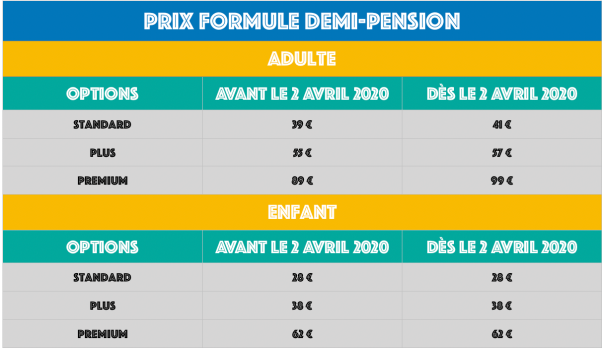 DEMI-PENSION PRIX