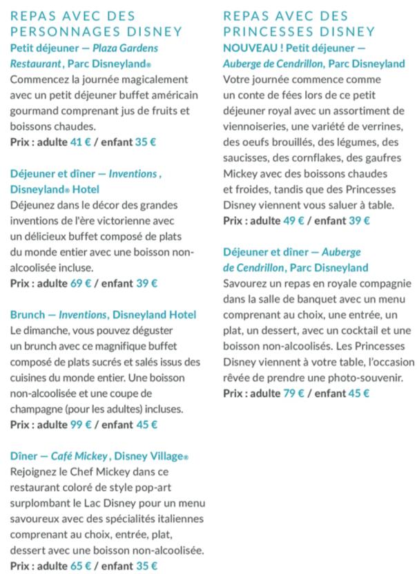 Prix repas Personnages Disney 2 avril 2020